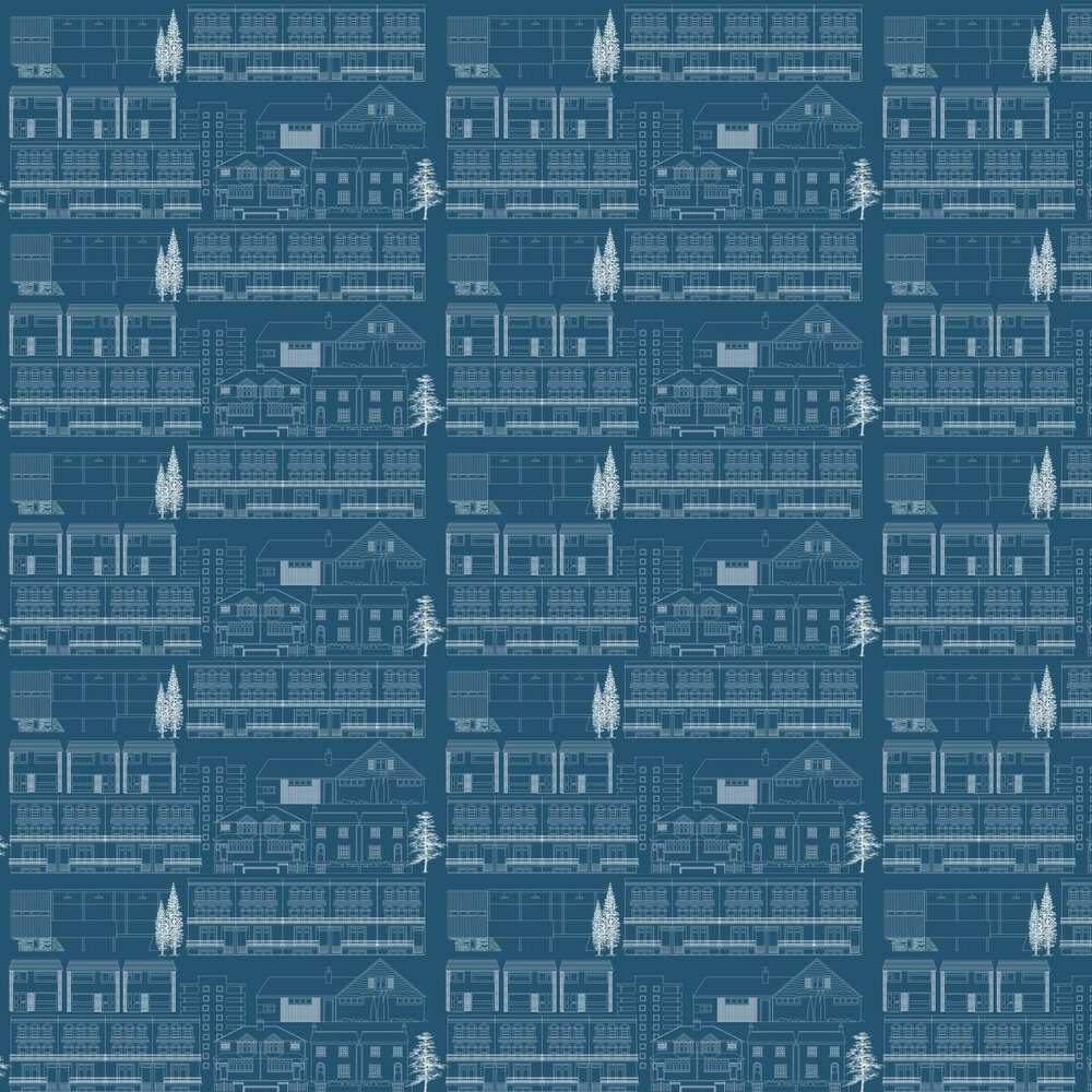 Mini Moderns Do You Live in a Town  Blueprint Wallpaper - Product code: AZDPT001 Blueprint