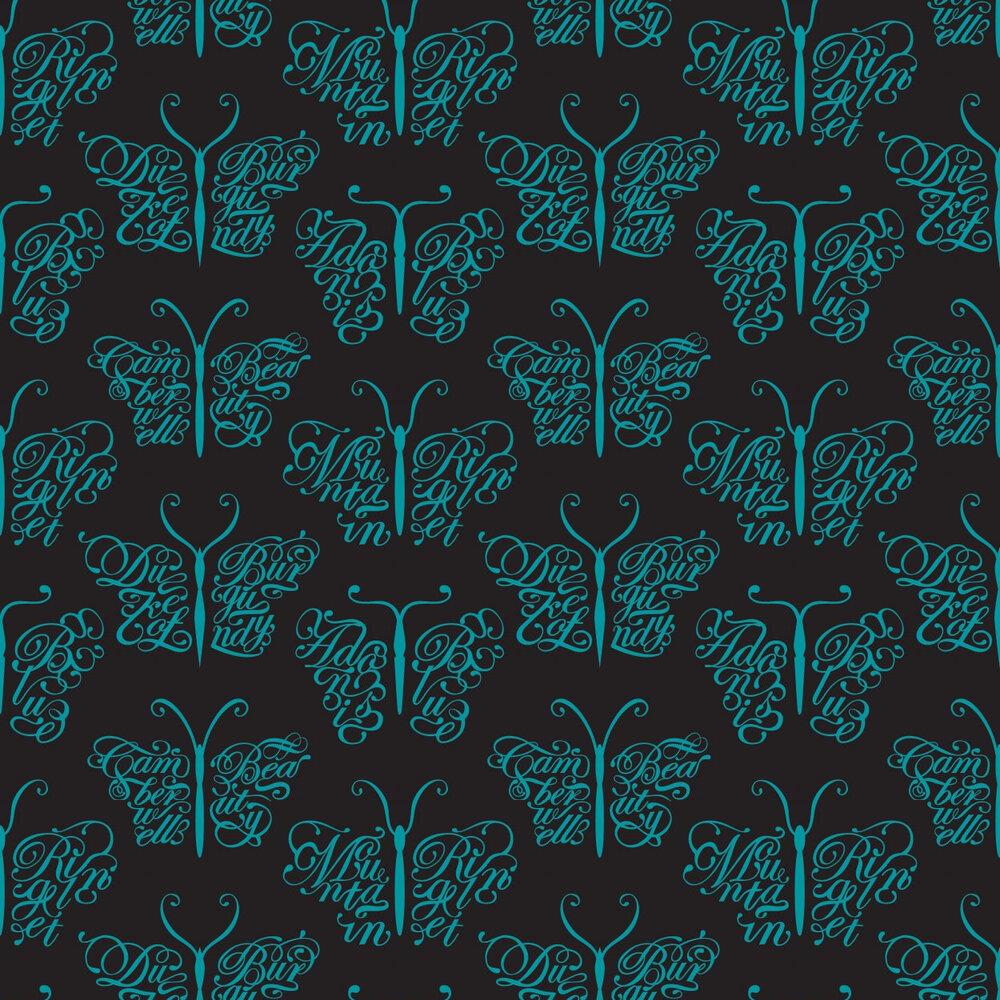 Camberwell Beauty  Wallpaper - Midnight - by Mini Moderns