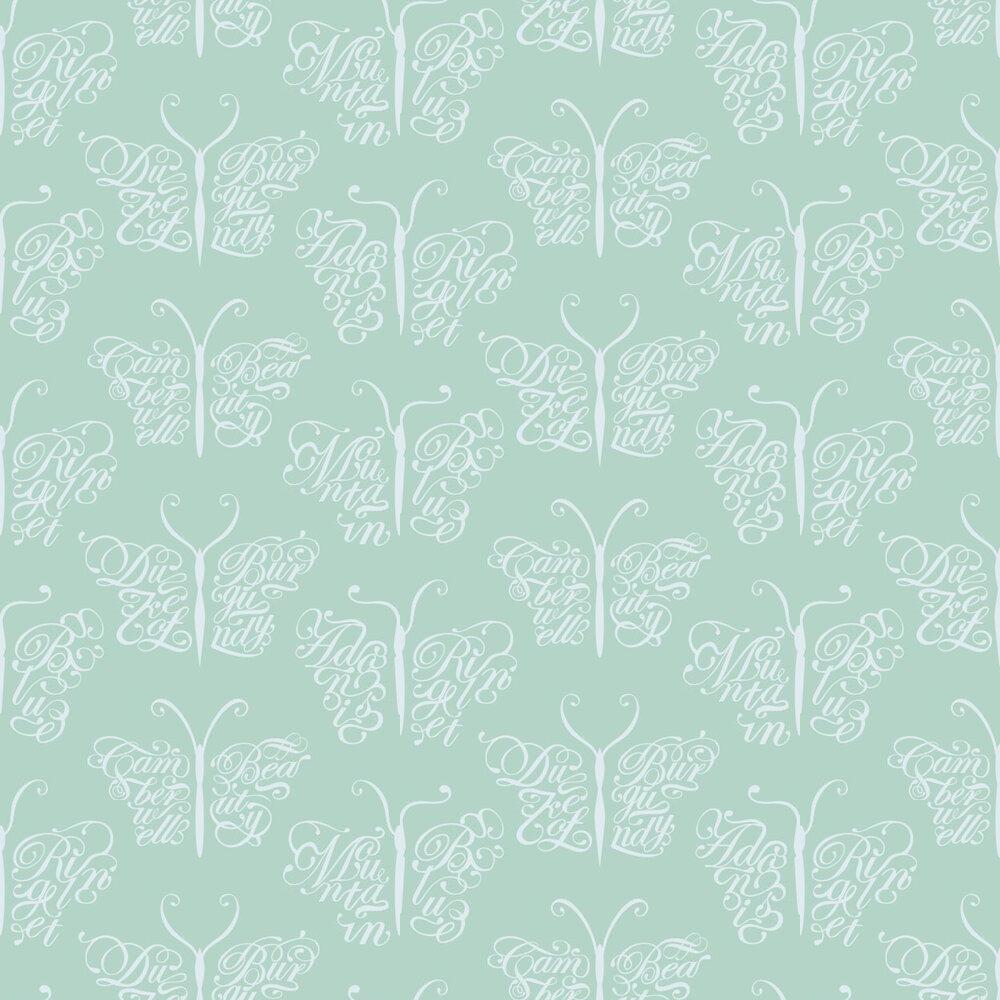 Camberwell Beauty  Wallpaper - Pale Verdigris - by Mini Moderns