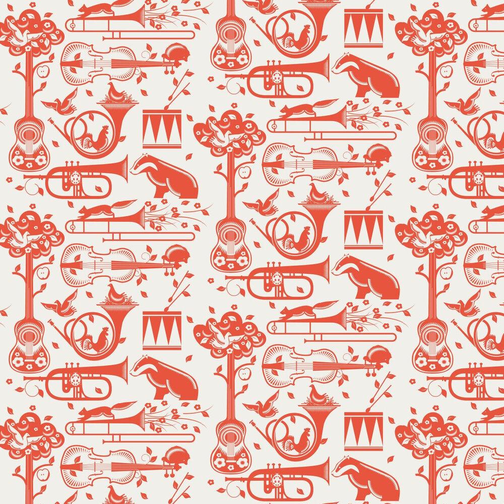 Mini Moderns Pet Sounds  Harvest Orange Wallpaper - Product code: AZDPT012 Orange