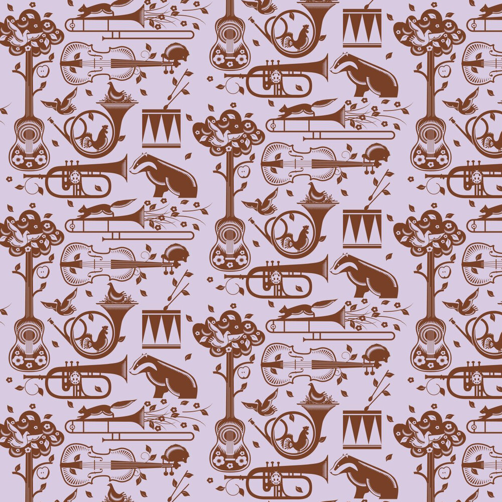Mini Moderns Pet Sounds  Heather Wallpaper - Product code: AZDPT012 Heather