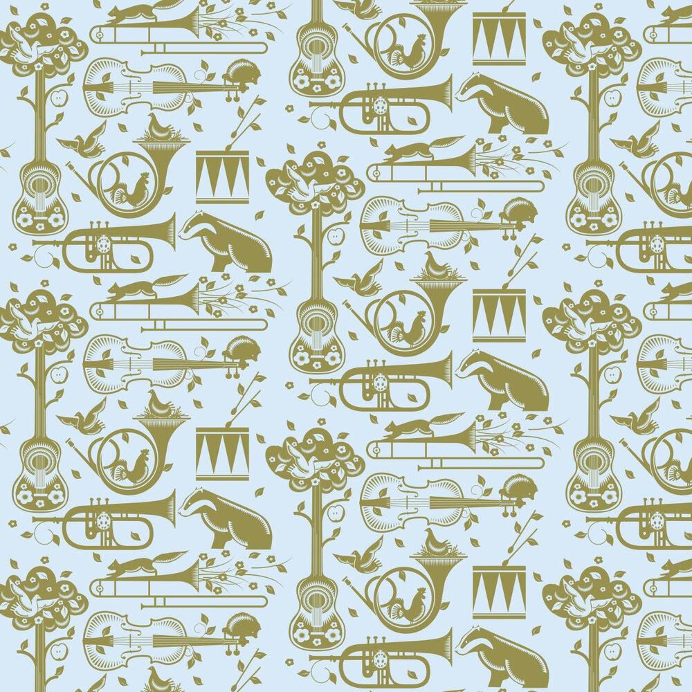 Pet Sounds  Wallpaper - Powder Blue - by Mini Moderns