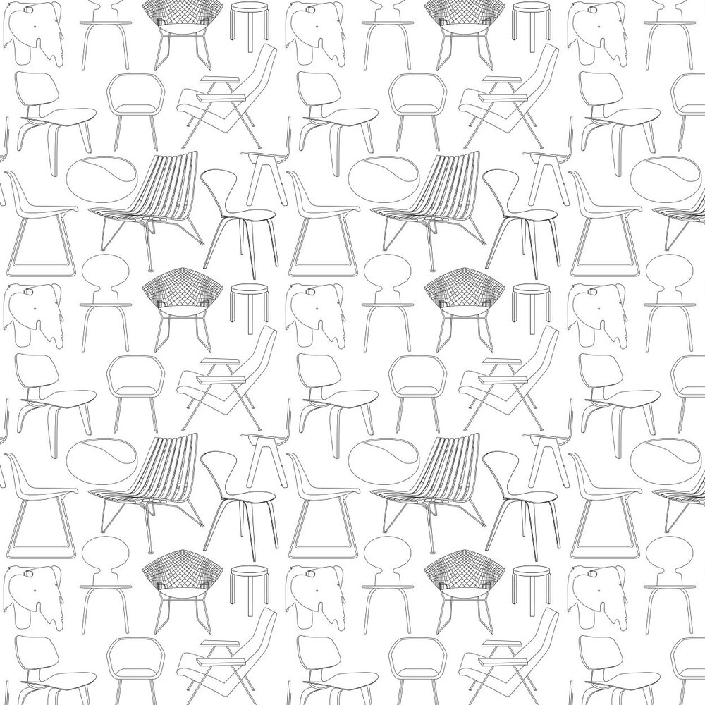 Mini Moderns Sitting Comfortable  Snow Wallpaper - Product code: AZDPT007 Snow