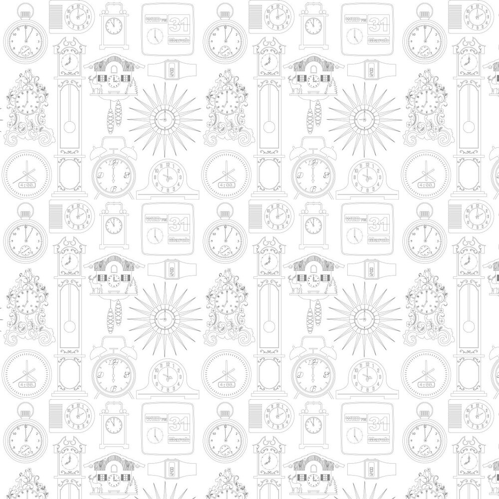 Tick Tock  Wallpaper - Snow - by Mini Moderns