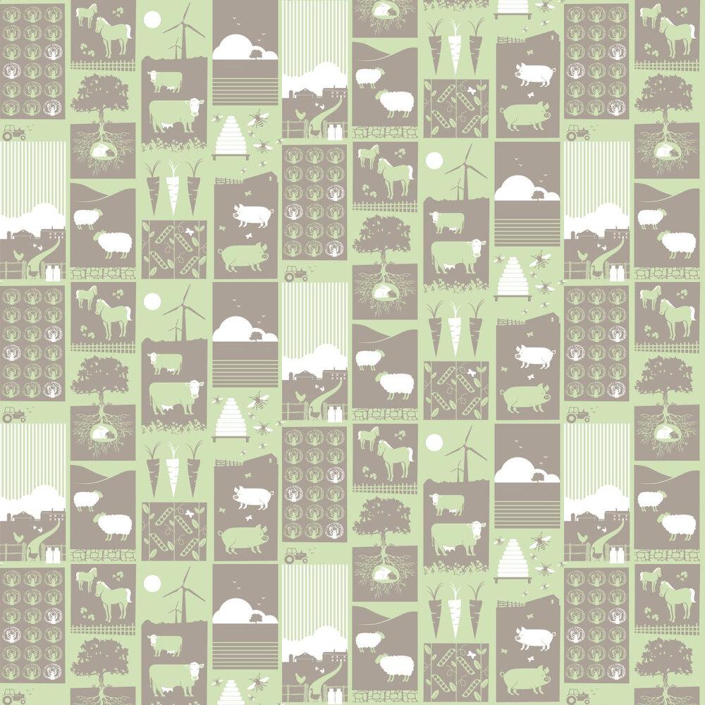 Mini Moderns Moo!  Pear Green Wallpaper - Product code: AZDPT006 Pear Green