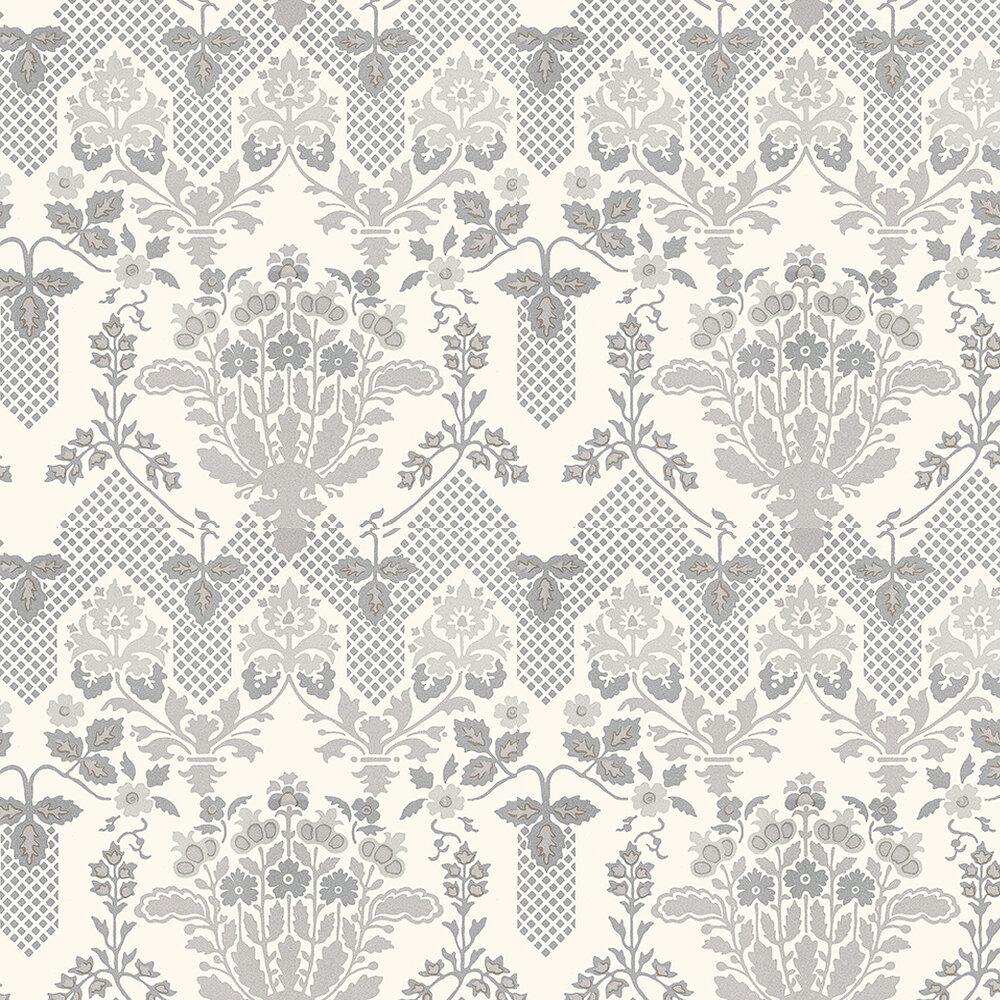 G P & J Baker Drummond Damask White / Silver Wallpaper - Product code: BW45064/1