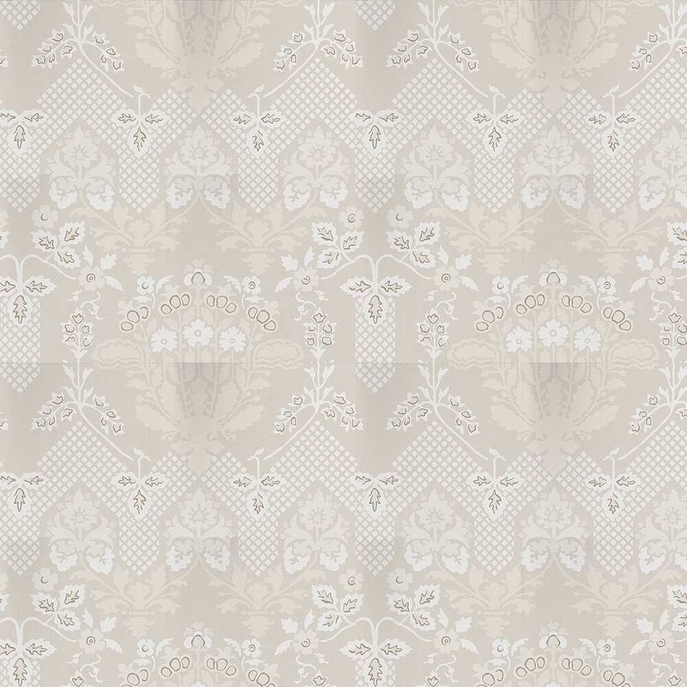 Drummond Damask Wallpaper - Stone / Grey - by G P & J Baker