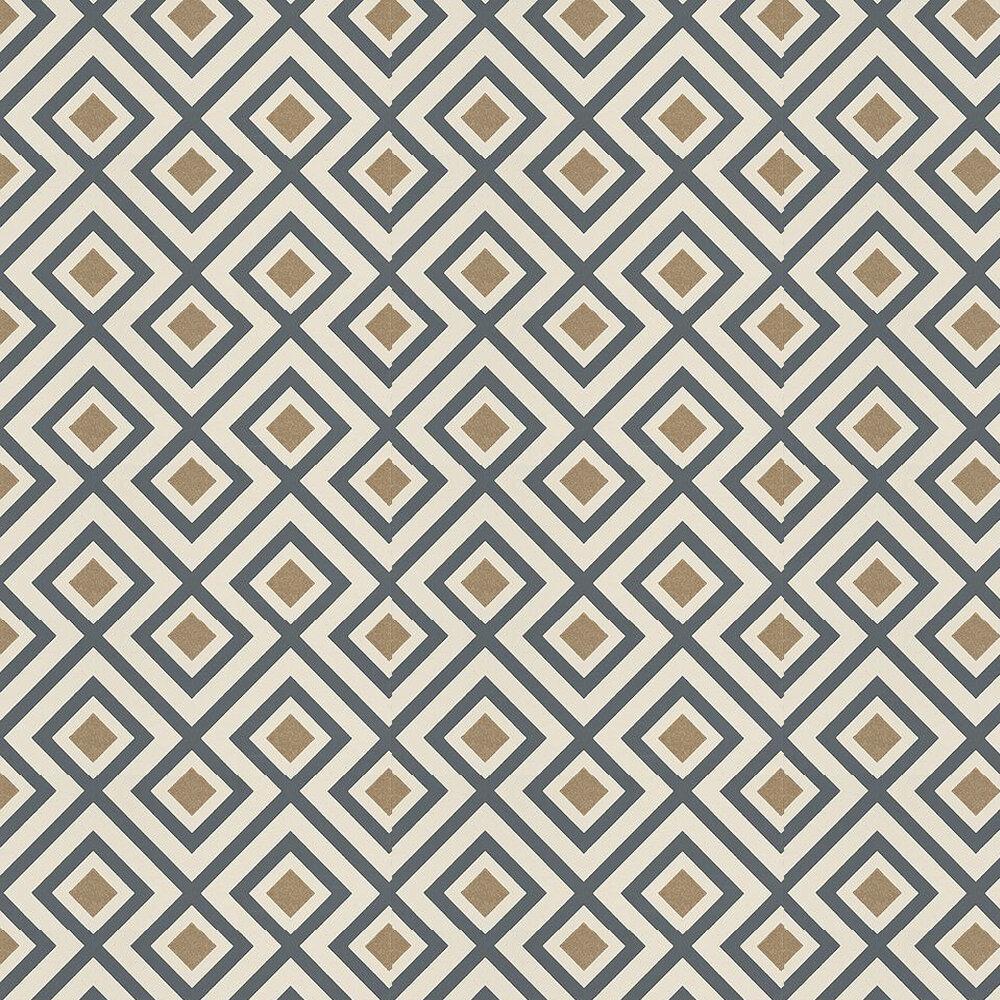 La Fiorentina Wallpaper - Charcoal / Cream / Metallic Gold - by G P & J Baker