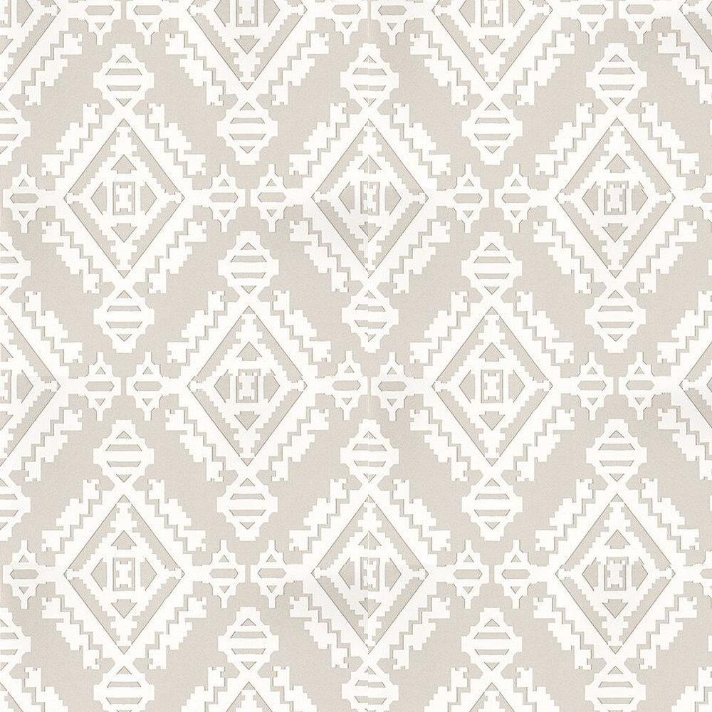 Navajo Wallpaper - Dove Grey / White - by G P & J Baker