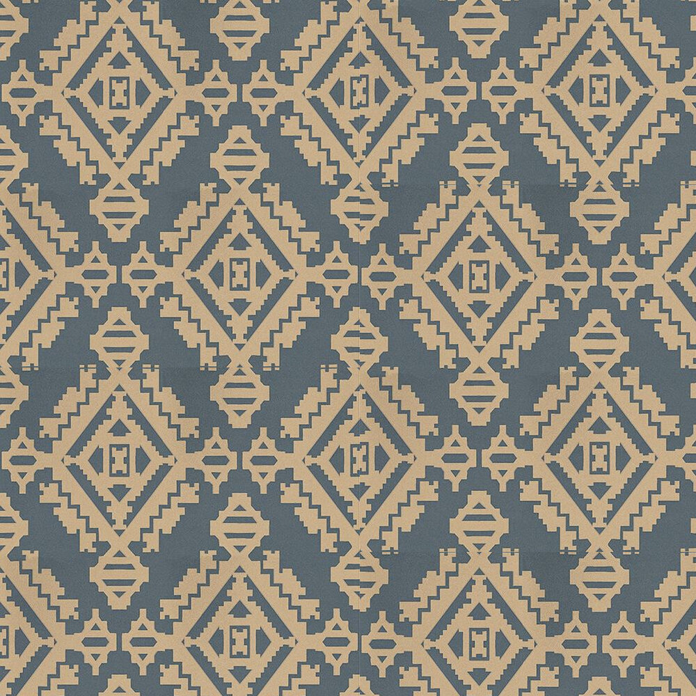 Navajo Wallpaper - Indigo / Metallic Gold - by G P & J Baker