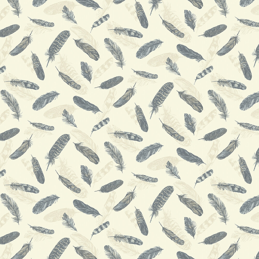 Arthouse Plume  Blue/Cream Wallpaper - Product code: 252801