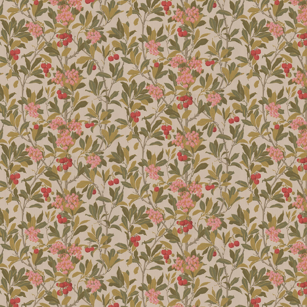 Strawberry Tree  Wallpaper - Pink & Linen - by Cole & Son