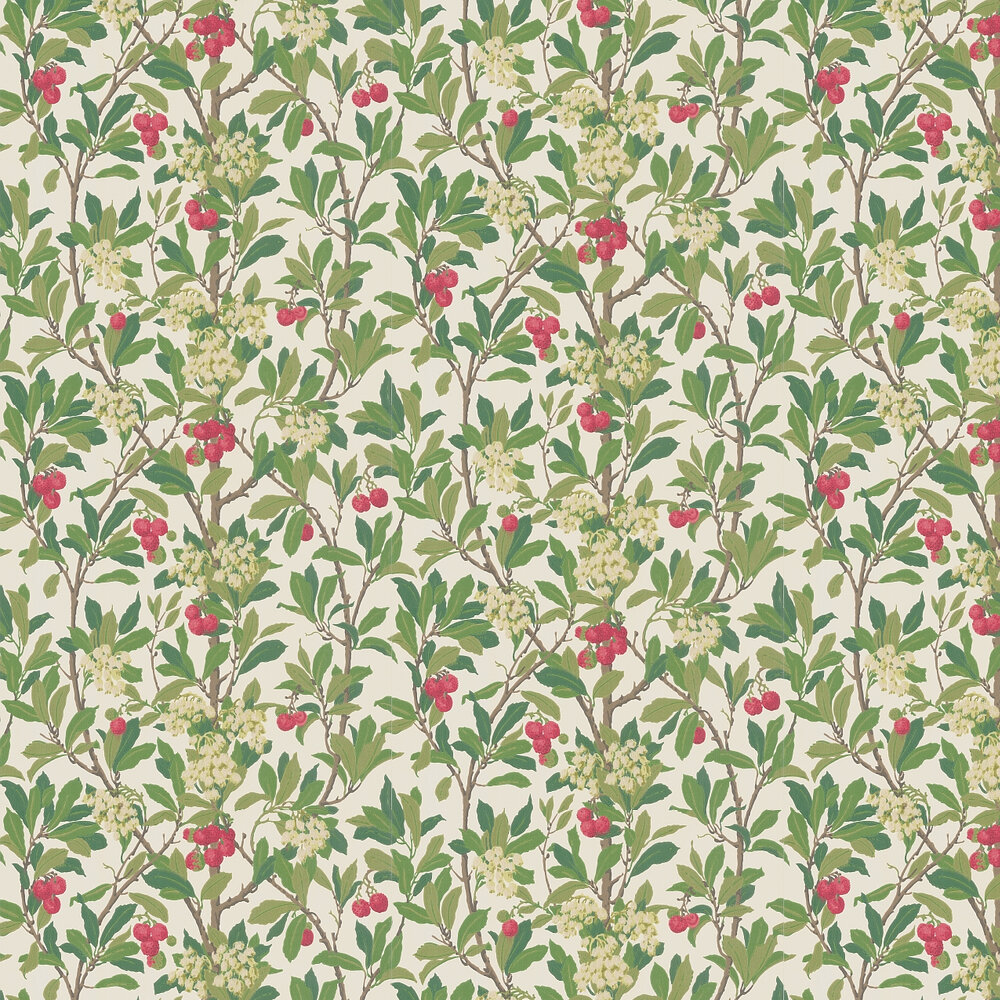 Strawberry Tree  Wallpaper - Scarlet & Ivory - by Cole & Son