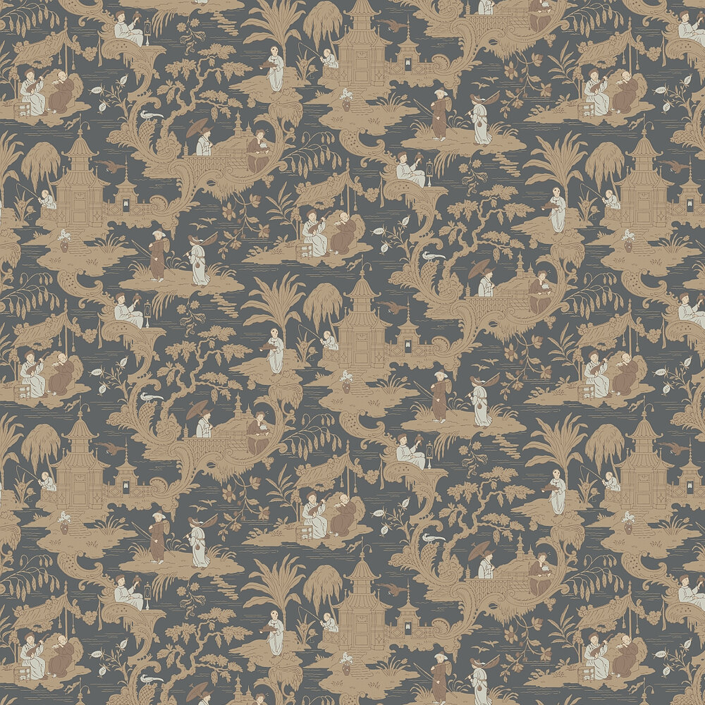 Cole & Son Chinese Toile  Charcoal Wallpaper - Product code: 100/8040