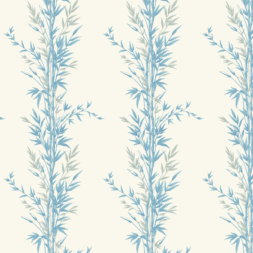 Bamboo  Wallpaper - Blue and Ivory - by Cole & Son