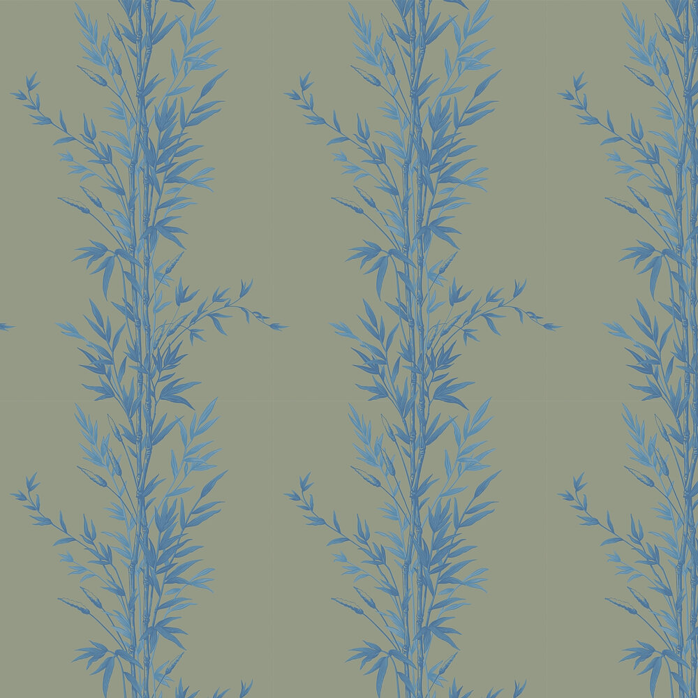 Cole & Son Bamboo  Blue on Khaki Wallpaper - Product code: 100/5026