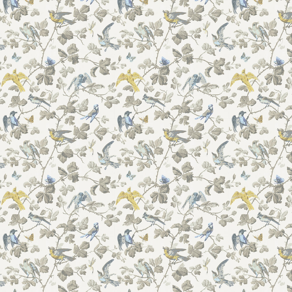 Winter Birds  Wallpaper - Yellow & Grey - by Cole & Son
