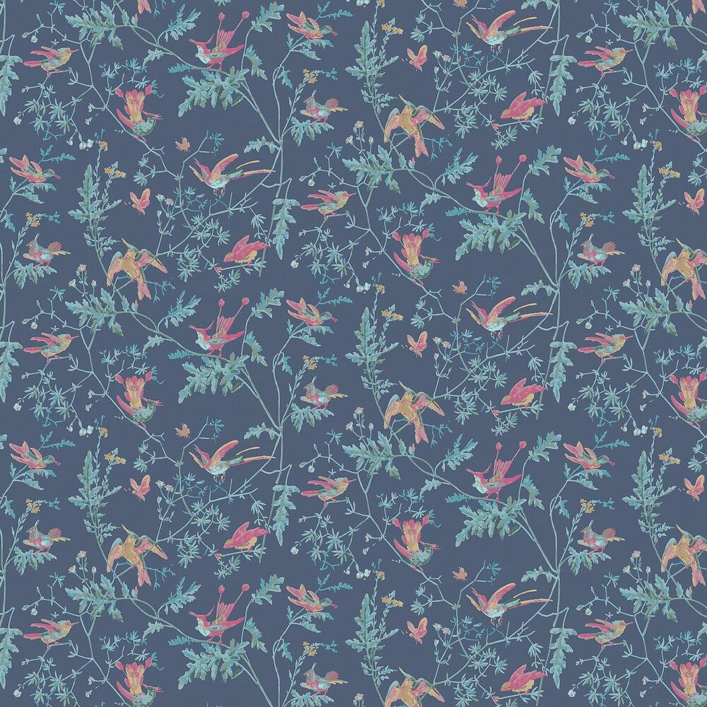 Hummingbirds Wallpaper - Indigo Multi-Colour - by Cole & Son