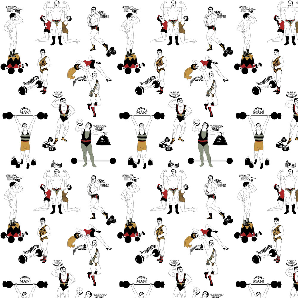 Dupenny Strong Man Colour Multi / Off White Wallpaper - Product code: STRONGMAN COLOUR