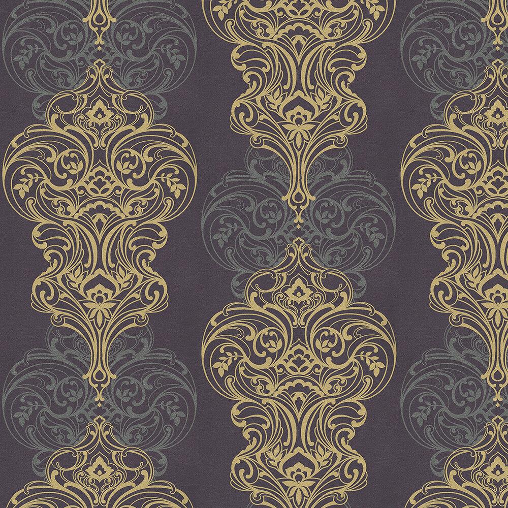 Classico Aubergine Wallpaper - Aubergine / Silver / Gold - by Kandola
