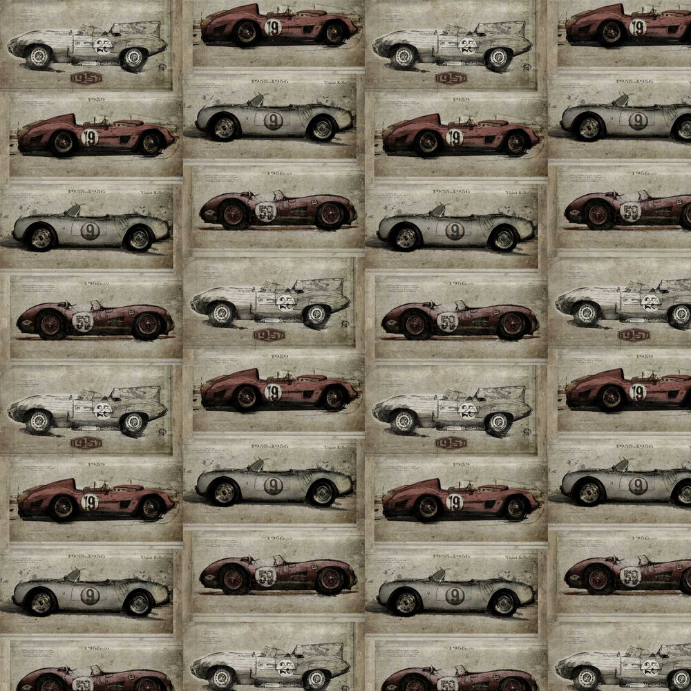 Racer Wallpaper - Grey / Red - by Sidney Paul & Co