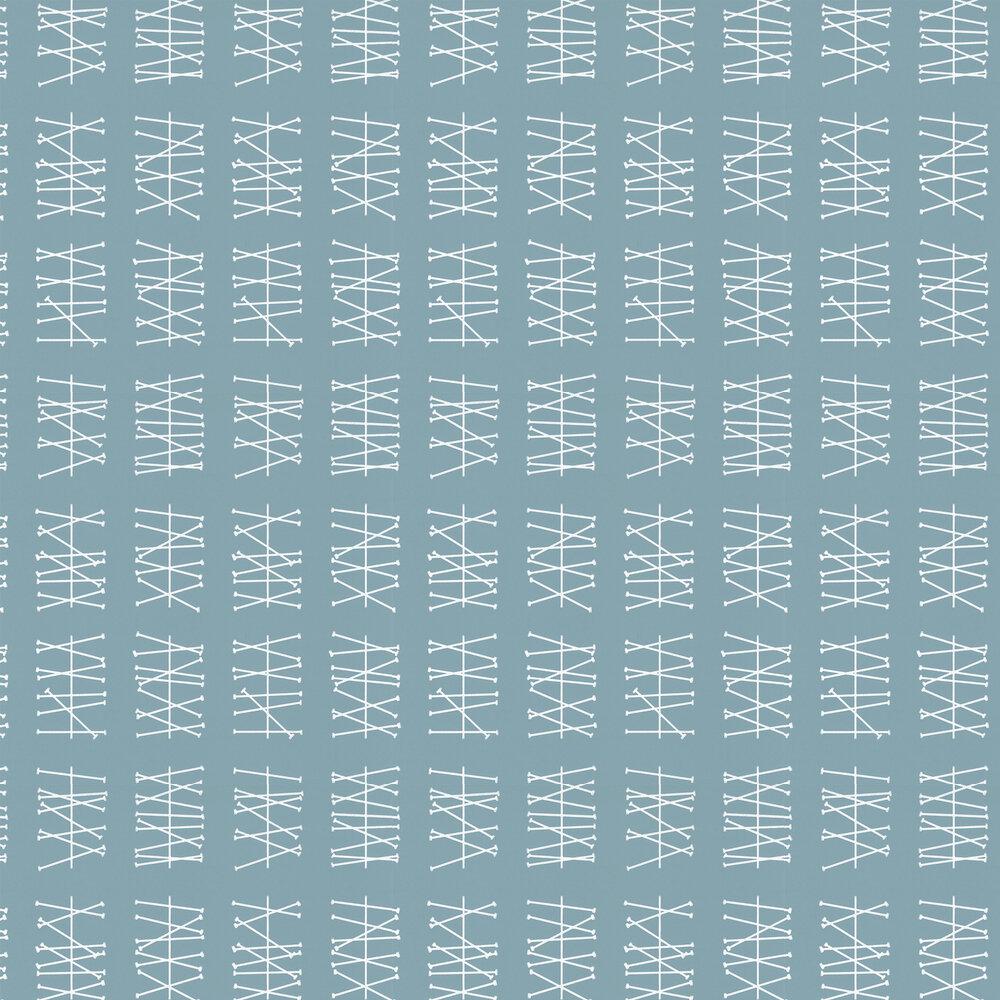 Crossed Lines  Wallpaper - Sea Green - by Layla Faye