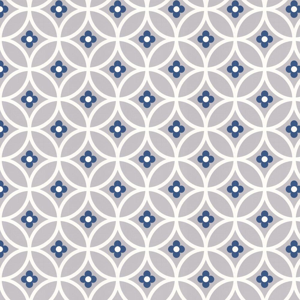 Daisy Chain Large  Wallpaper - Grey Midnight Blue - by Layla Faye