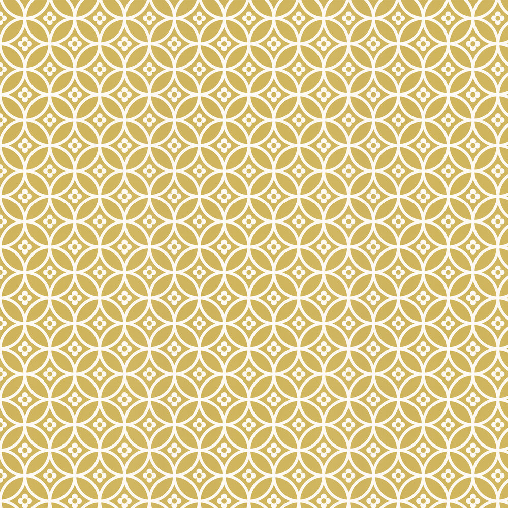 Layla Faye Daisy Chain Small  Golden Moss Wallpaper - Product code: LF1014