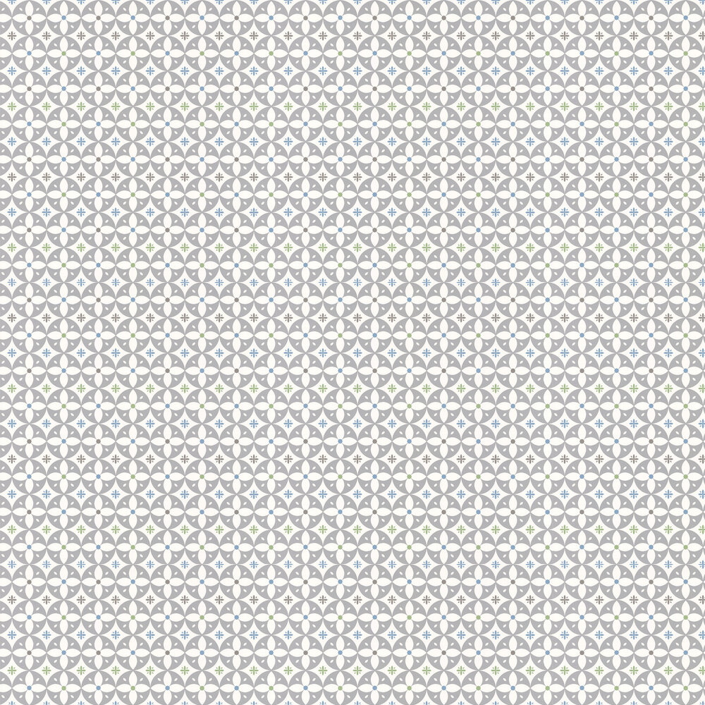 Flower Breeze  Wallpaper - Grey Cadet - by Layla Faye