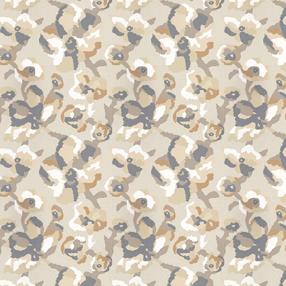 Efflorescence Gold Wallpaper - Brown / White / Metallic Gold - by Casamance
