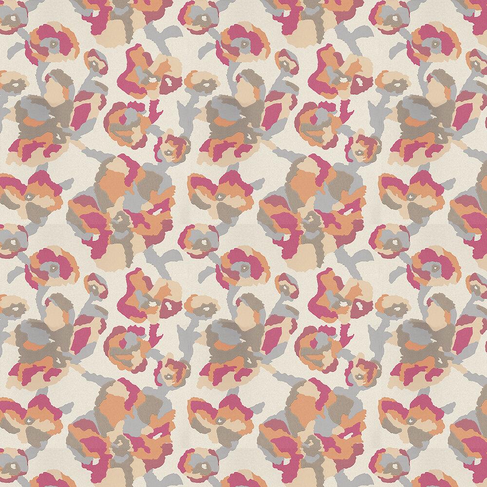 Efflorescence Pink Wallpaper - Orange / Pink / Brown / Metallic Gold - by Casamance