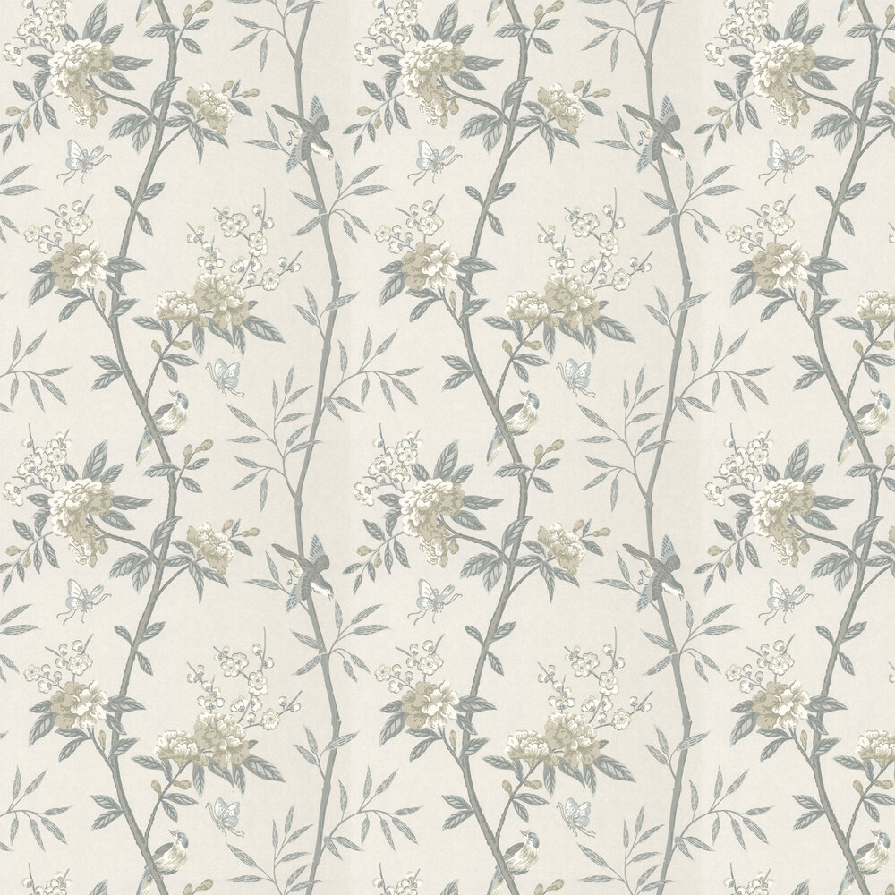 Peony & Blossom Wallpaper - Dove / Silver - by G P & J Baker