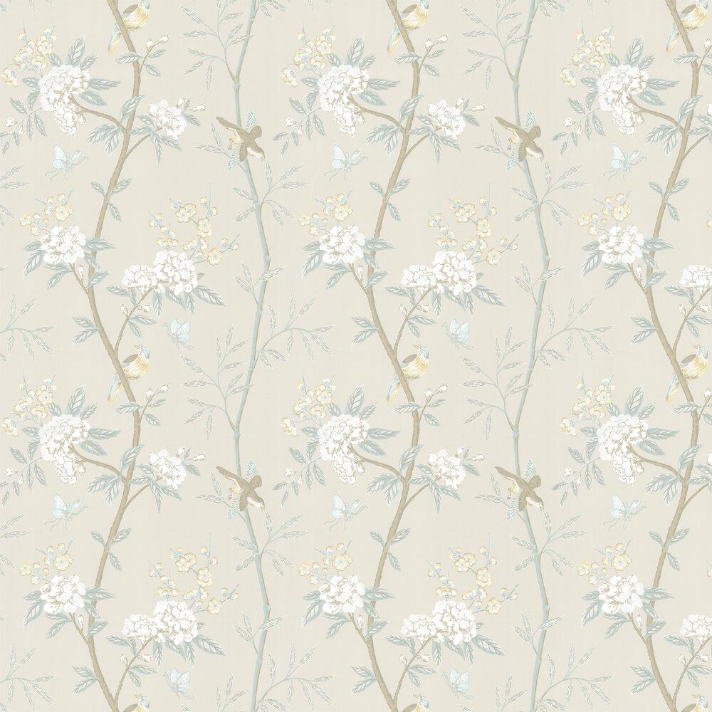 Peony & Blossom Wallpaper - Cream / Aqua - by G P & J Baker