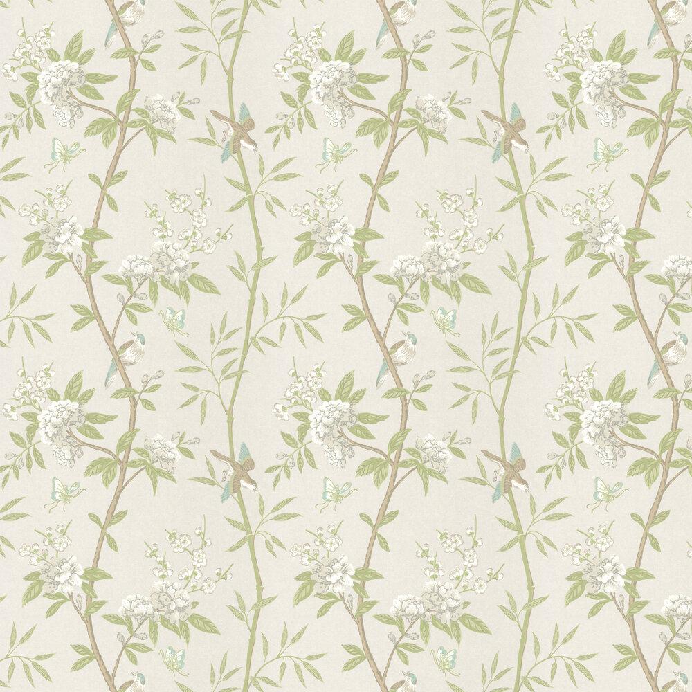 Peony & Blossom Wallpaper - White / Green / Aqua - by G P & J Baker
