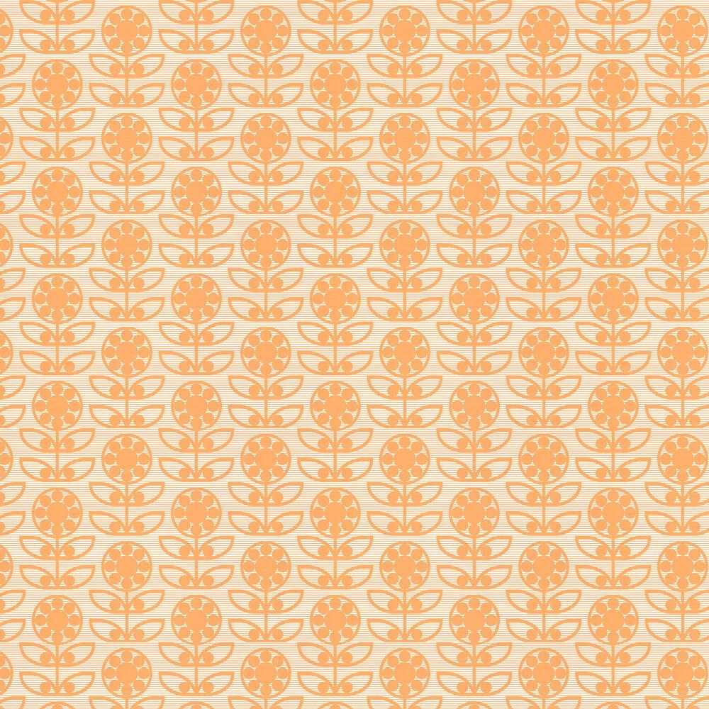 Dotty Flower  Wallpaper - Tangy Orange - by Layla Faye