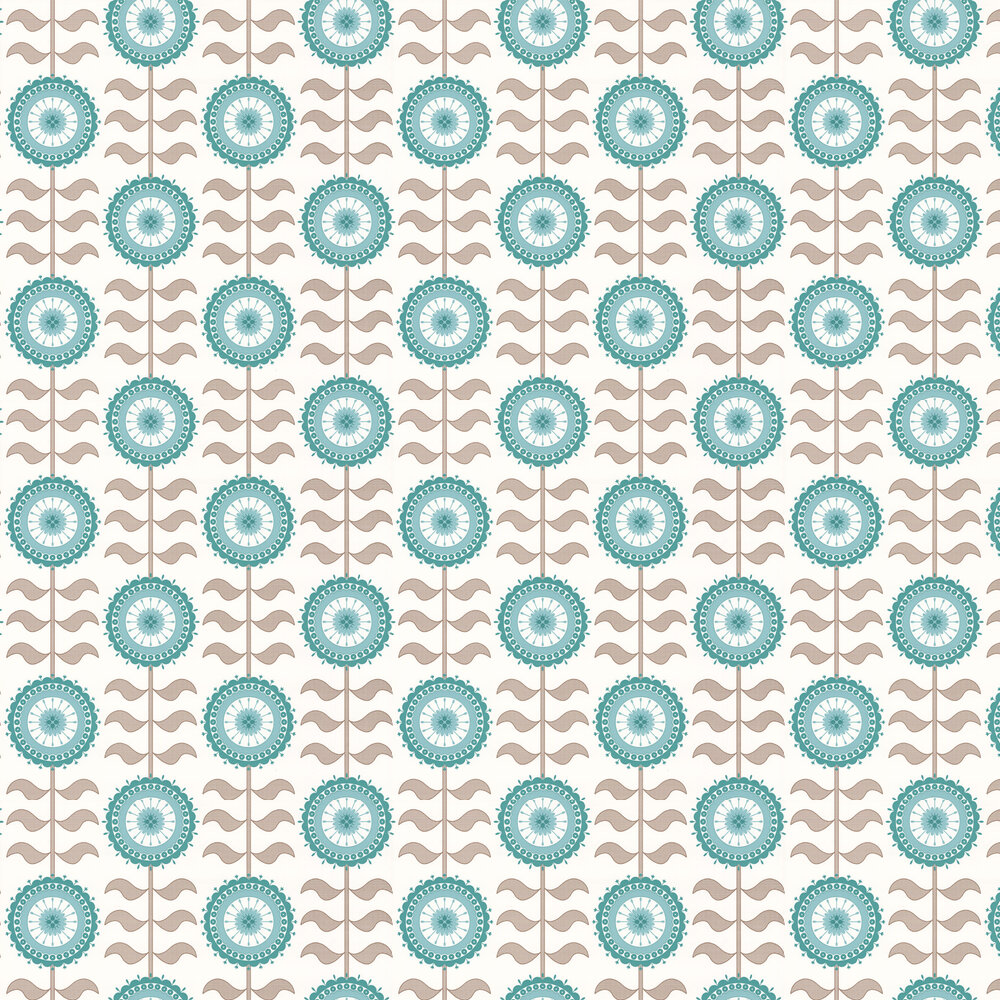 Layla Faye Tall Flower  Turquoise Twirl Wallpaper - Product code: LF1015