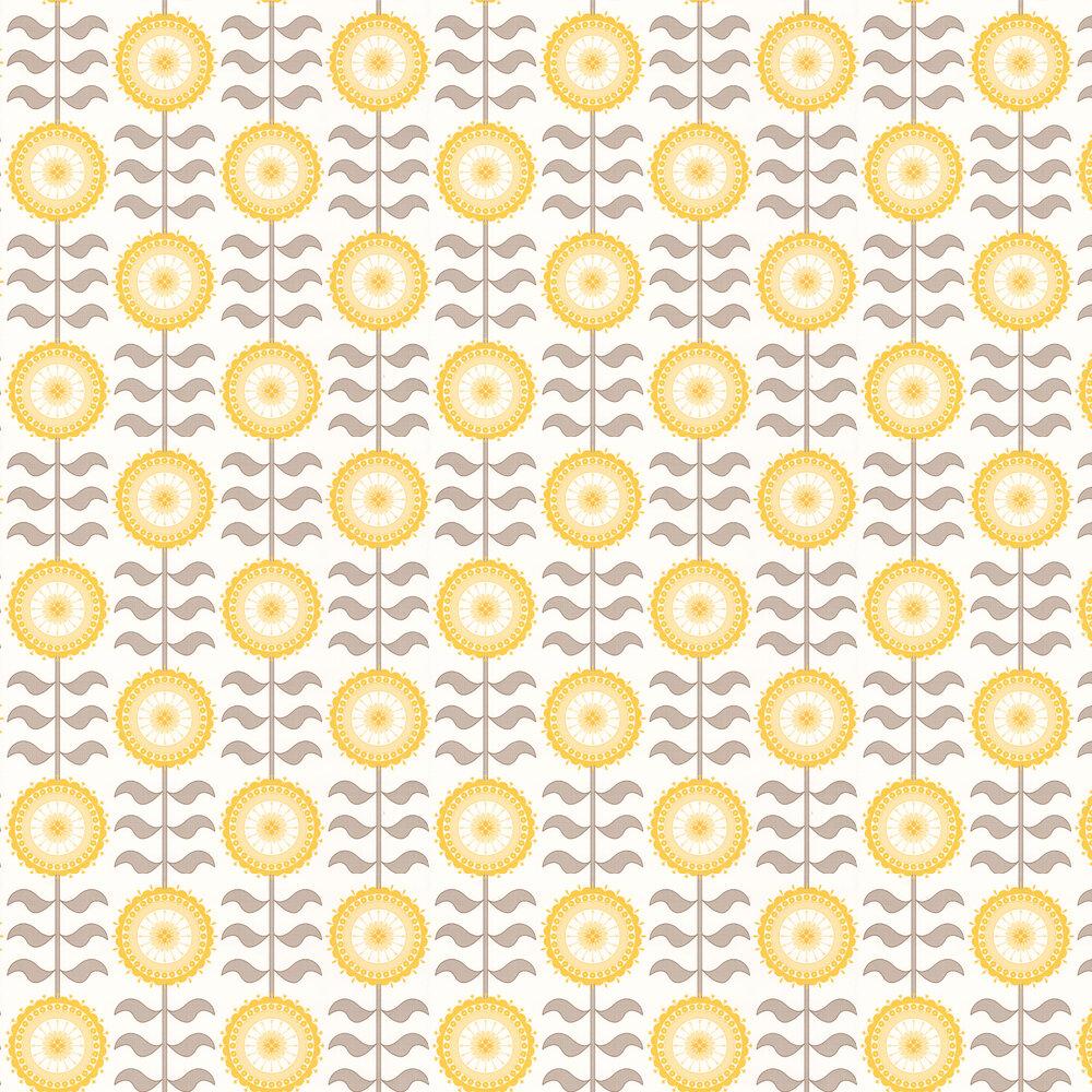 Tall Flower  Wallpaper - Golden Haze - by Layla Faye