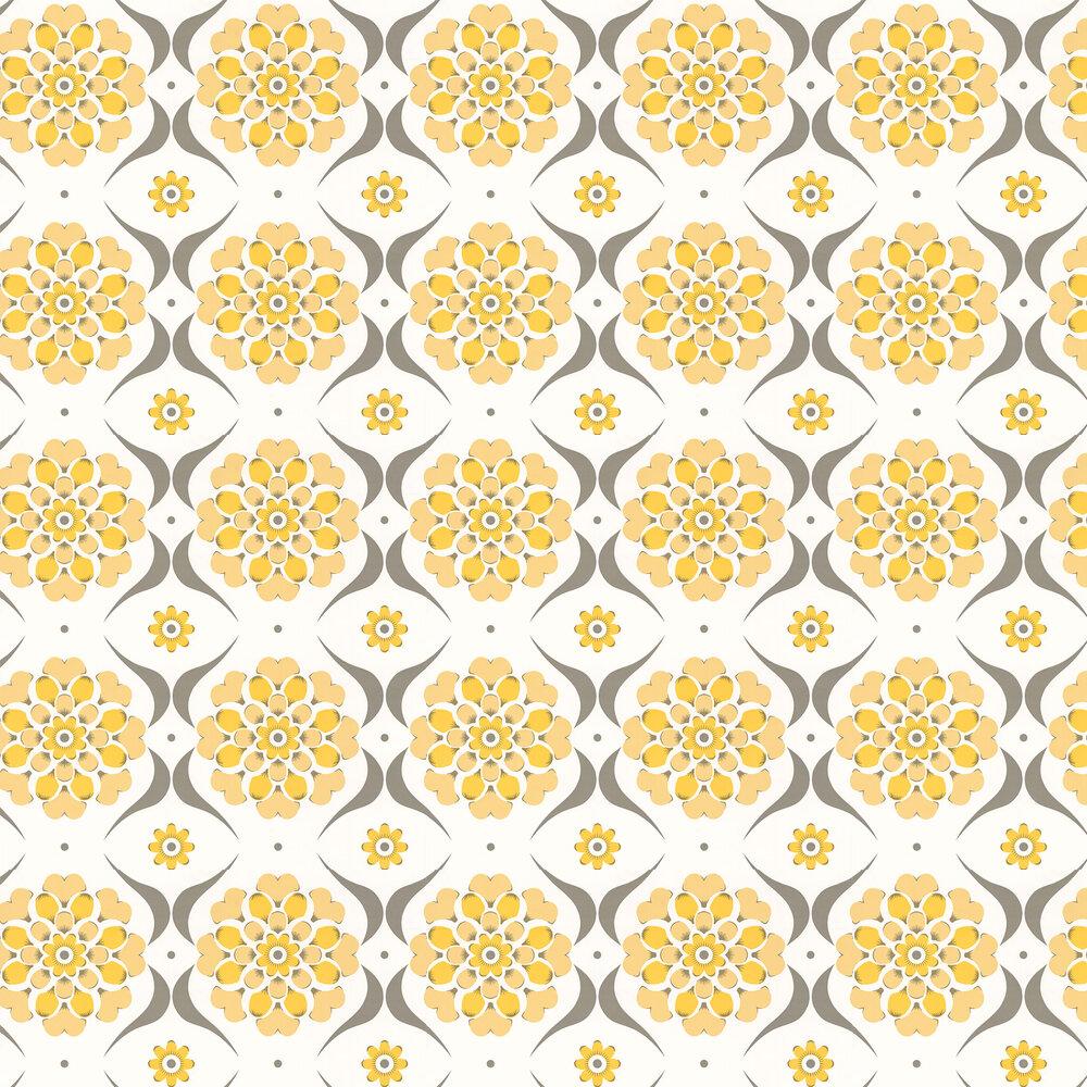 Flower Swirl  Wallpaper - Sunburst - by Layla Faye