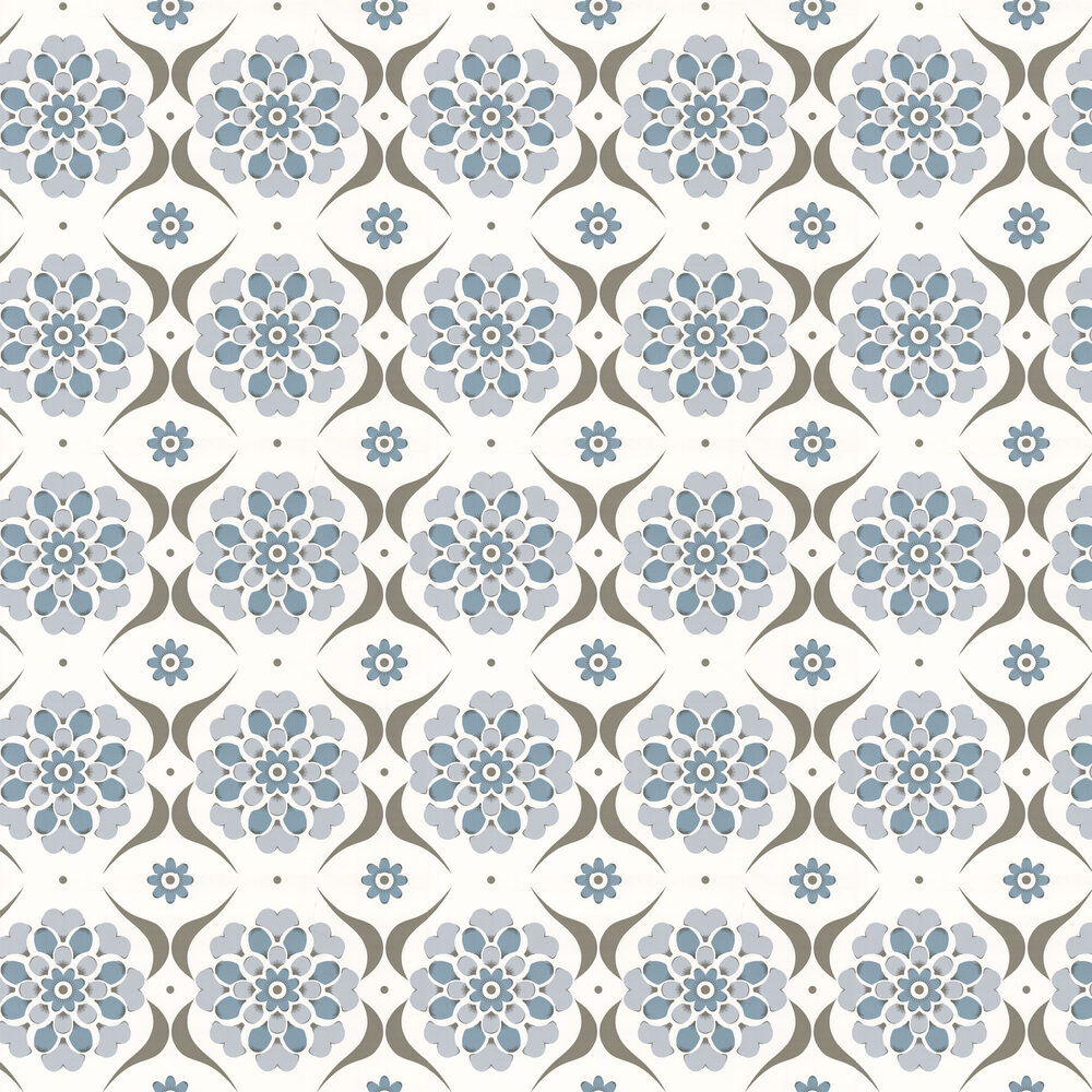 Flower Swirl  Wallpaper - Blue Hue - by Layla Faye