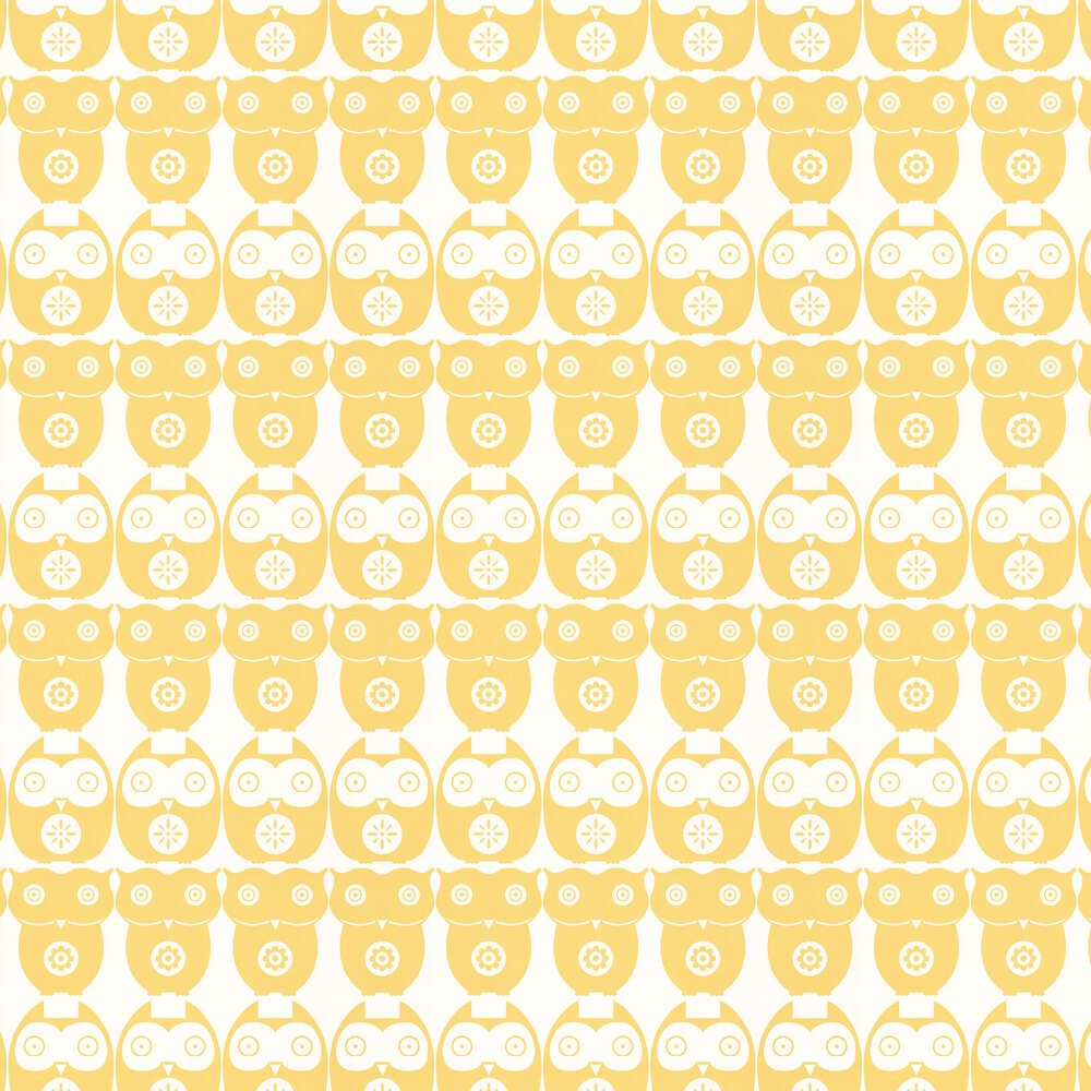 Owls  Wallpaper - Yellow Daisy - by Layla Faye