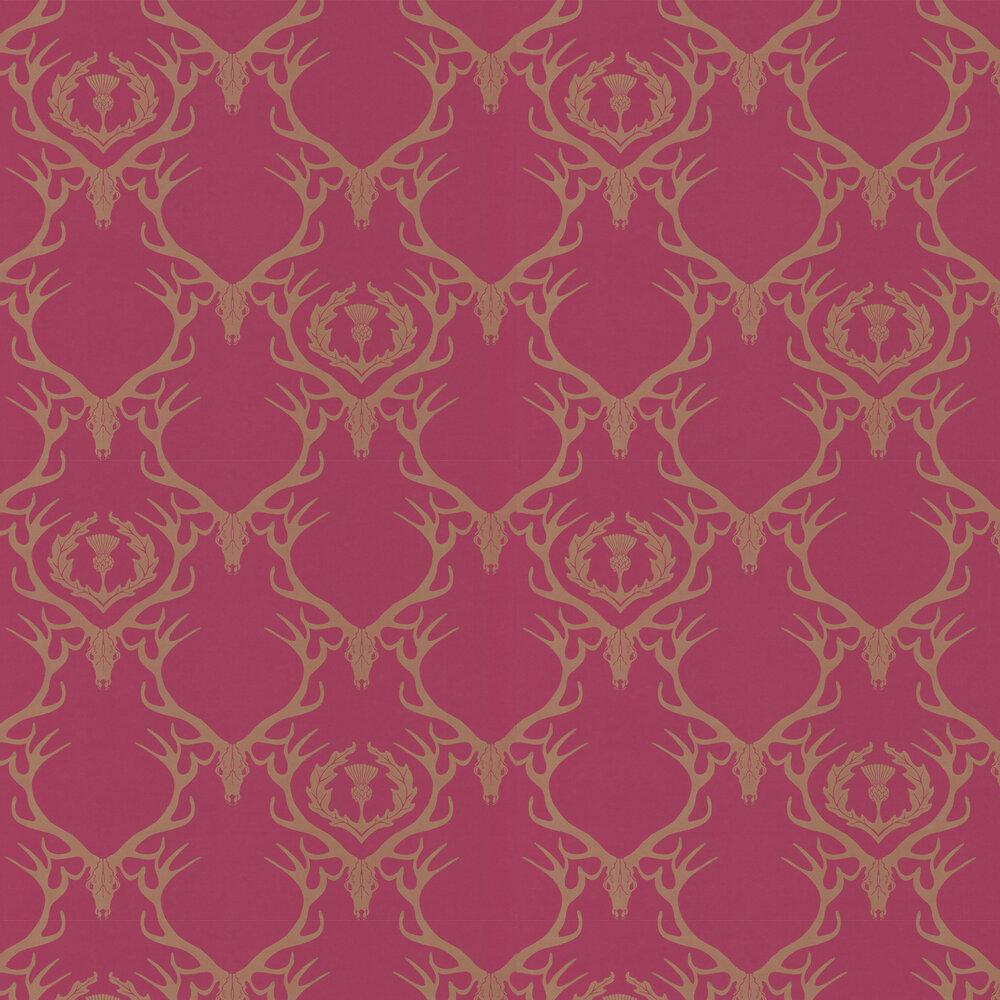 Deer Damask Claret Wallpaper - by Barneby Gates