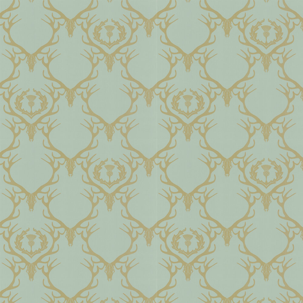 Deer Damask Duckegg Wallpaper - Duck Egg Blue - by Barneby Gates
