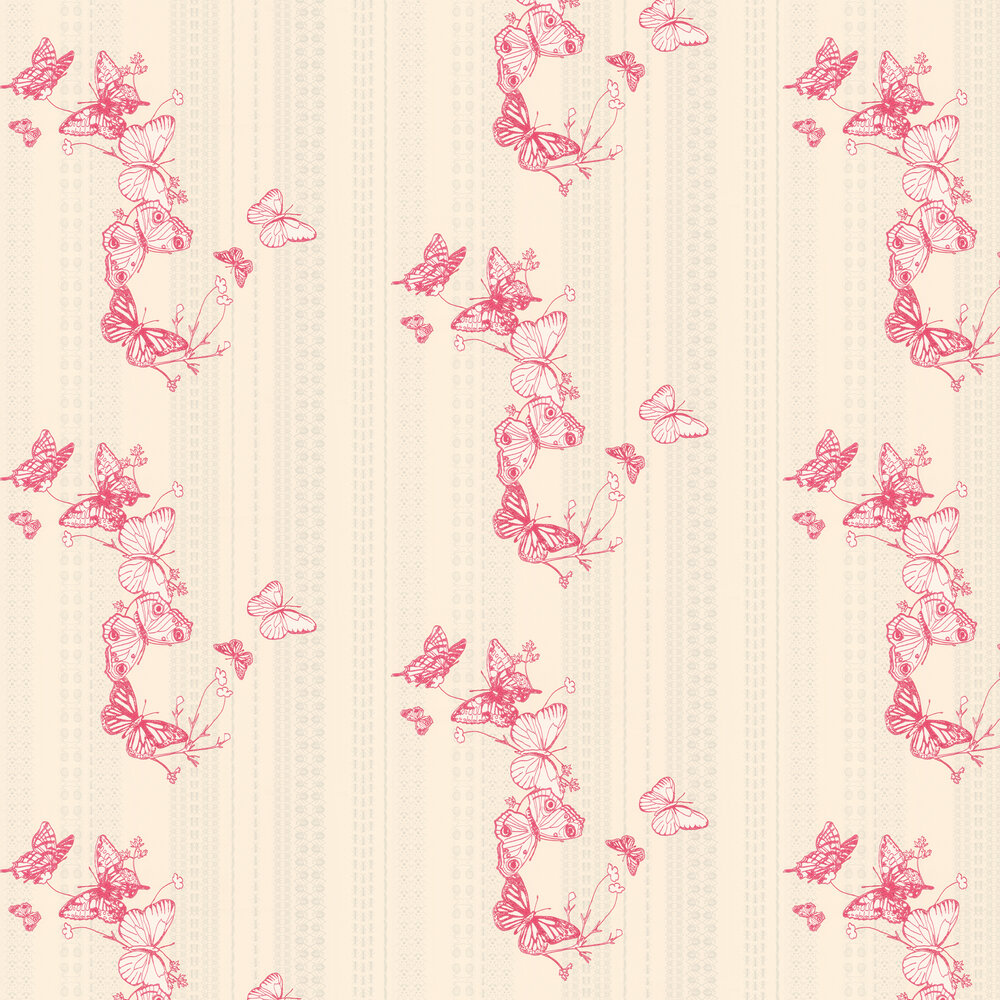 Barneby Gates Bugs & Butterflies Raspberry Raspberry / Cream Wallpaper - Product code: BG0100301