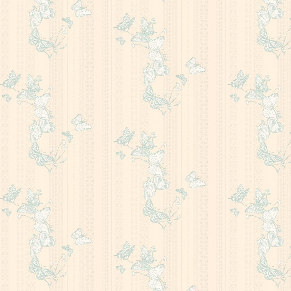 Bugs & Butterflies Ice Blue Wallpaper - Ice Blue / Cream - by Barneby Gates