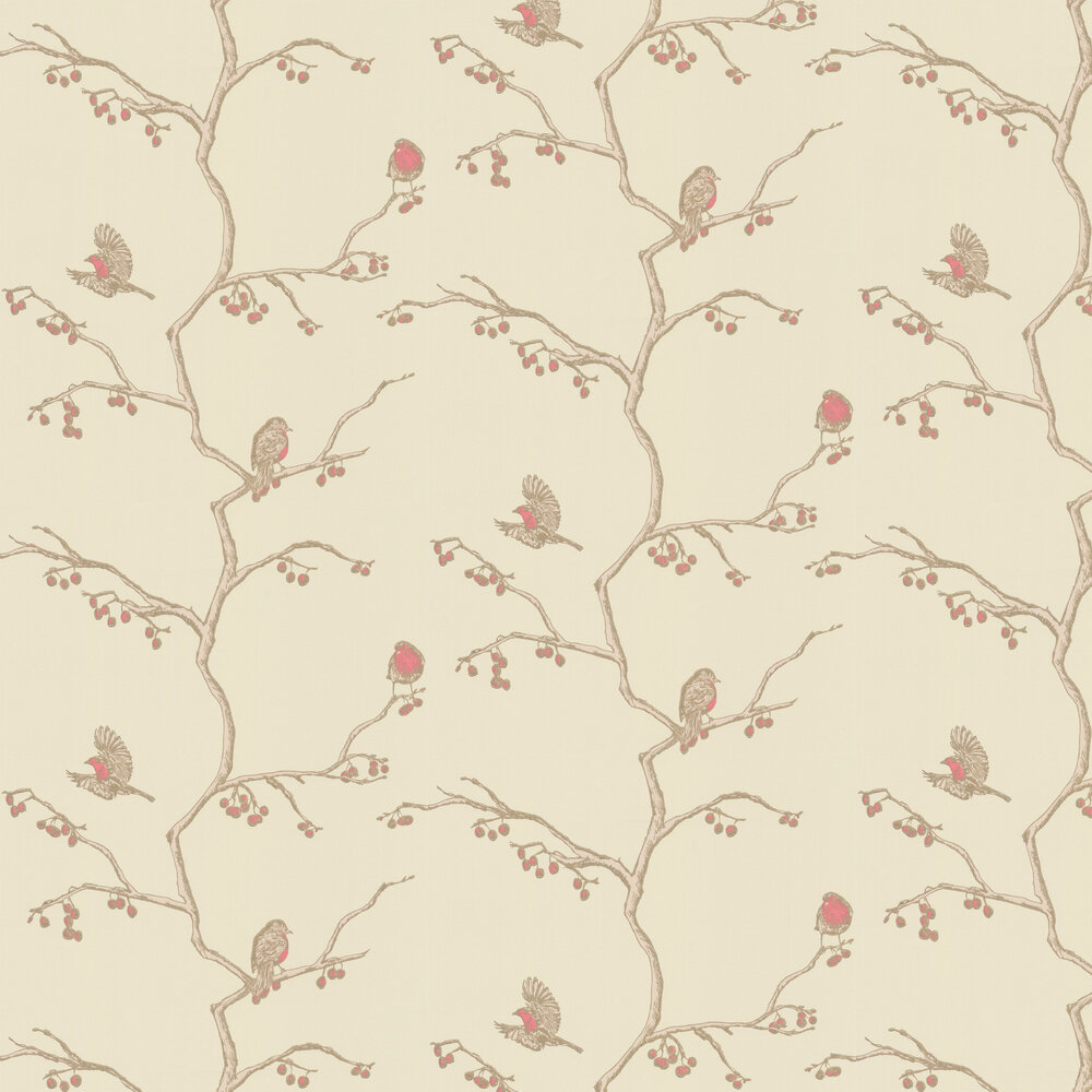 The English Robin Parchment Wallpaper - by Barneby Gates