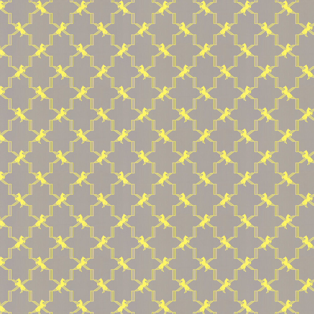 Horse Trellis Acid on Grey Wallpaper - Acid Yellow / Grey - by Barneby Gates