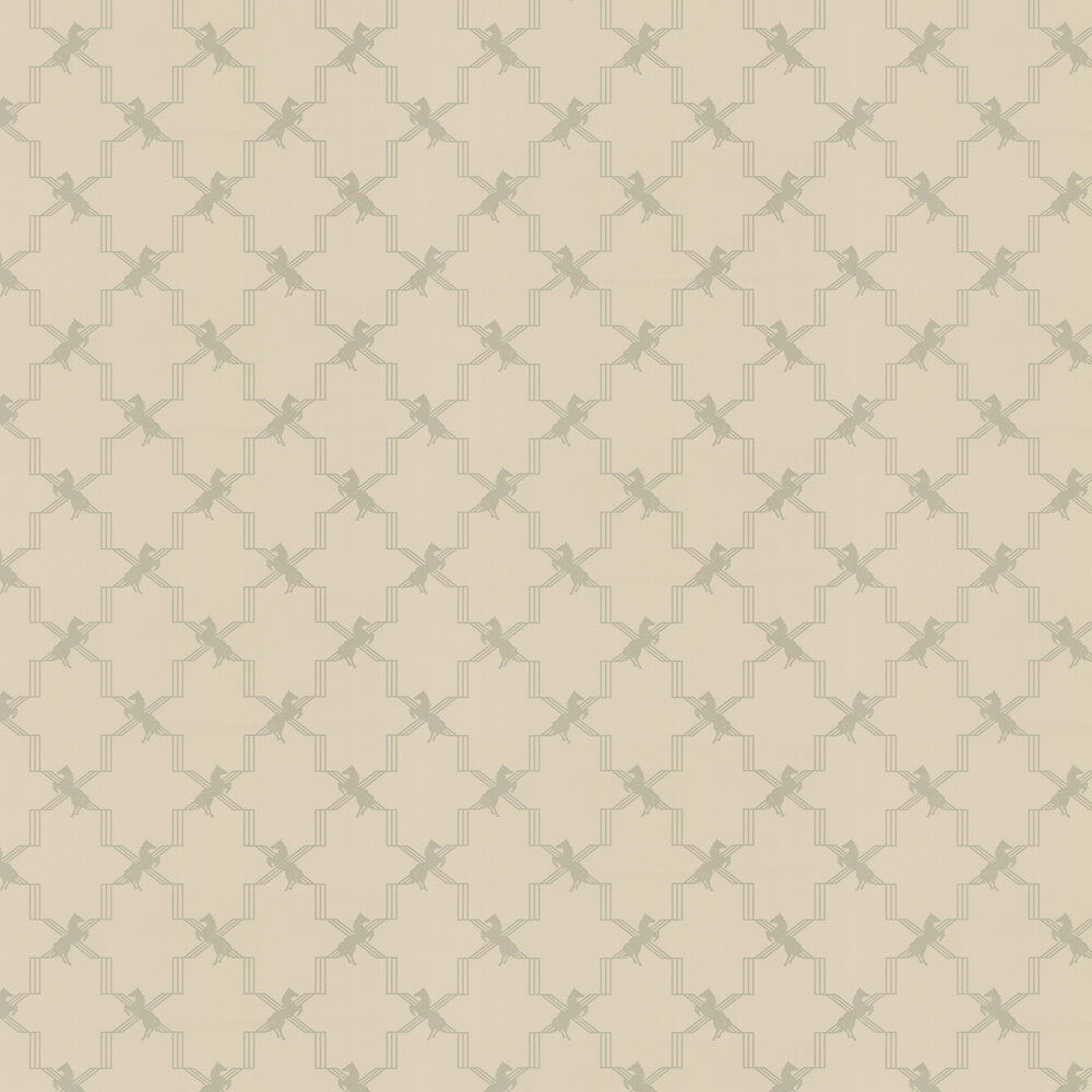Horse Trellis Metallic Stone Wallpaper - Metallic Silver / Stone - by Barneby Gates