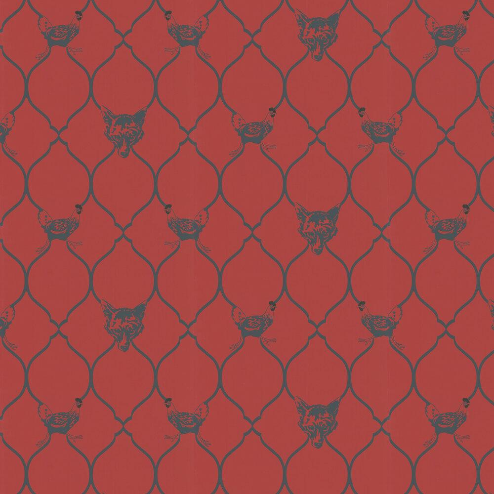Fox & Hen Brick Wallpaper - Brick Red / Black - by Barneby Gates