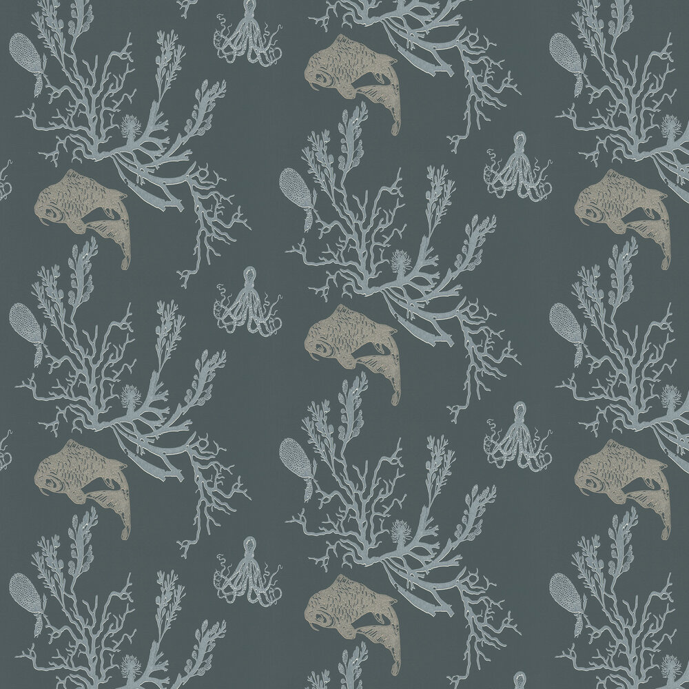 Coral Charcoal/Gold Wallpaper - Charcoal / Gold - by Barneby Gates