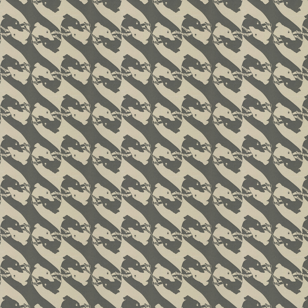 The Dogs Charcoal Wallpaper - Metallic Silver / Charcoal - by Barneby Gates
